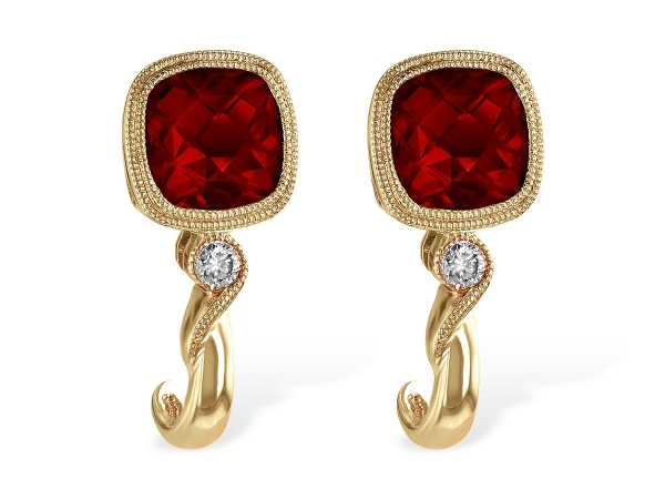 14KT Gold Earrings - EARRINGS 2.36 GARNET 2.40 TGW