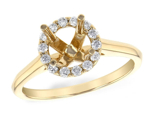 14KT Gold Semi-Mount Engagement Ring - LDS SEMI DIA RG .22 TW - HOLDS 1.00 CTR