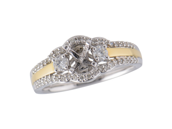 14KT Gold Semi-Mount Engagement Ring - LDS SEMI WG SHANK/YG TRIM .36 TW