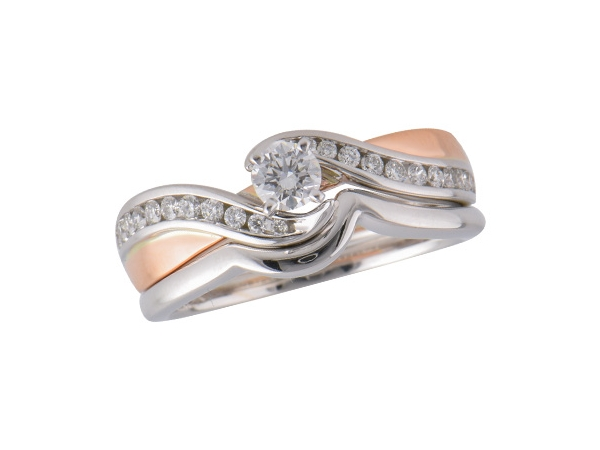 14KT Gold Two-Piece Wedding Set by Allison Kaufman