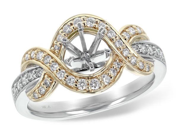 14KT Gold Semi-Mount Engagement Ring - LDS SEMI DIA RG .34 TW - HOLDS 0.50 CTR