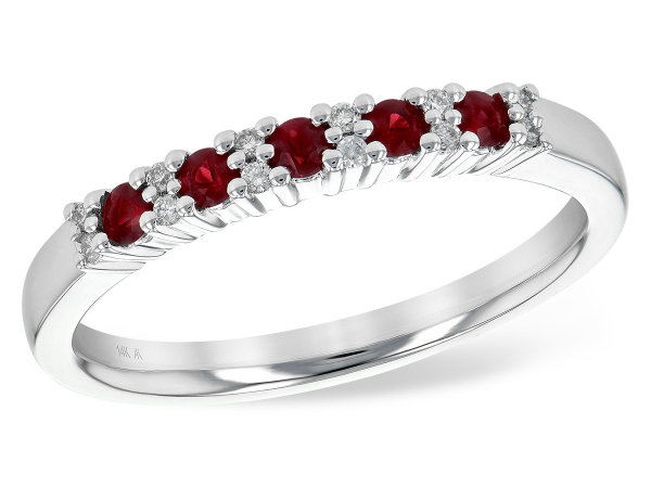 14KT Gold Ladies Wedding Ring - LDS WED RG .22 RUBY .29 TGW