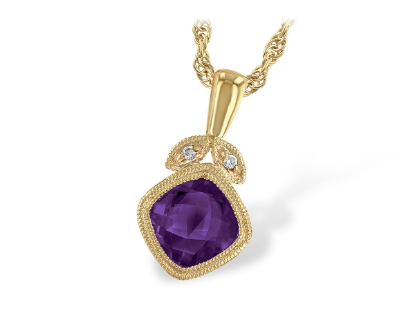 14KT Gold Necklace - NECK .80 AMETHYST .81 TGW
