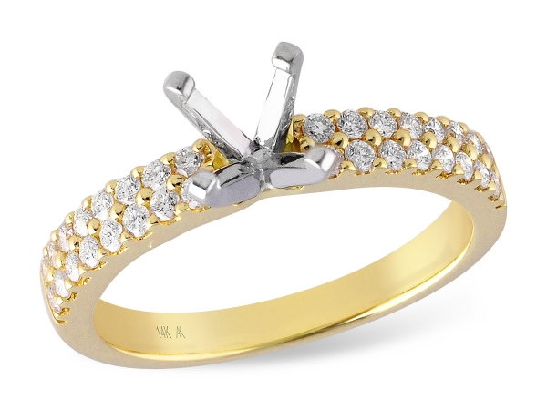 14KT Gold Semi-Mount Engagement Ring - LDS SEMI DIA RG .41 TW - HOLDS 0.75 CTR