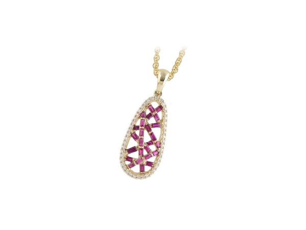 14KT Gold Necklace - NECK .39 RUBY .52 TGW