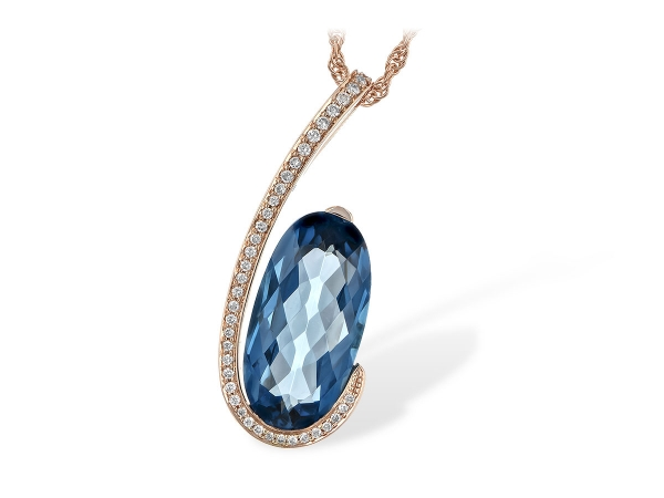 14KT Gold Necklace - NECK 4.48 LONDON BLUE TOPAZ 4.60 TGW