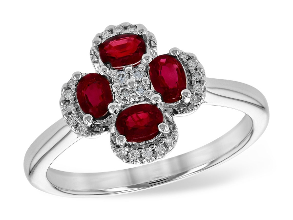14KT Gold Ladies Diamond Ring - LDS RG .70 RUBY .79 TGW