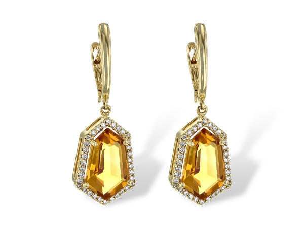 14KT Gold Earrings - EARR 3.80 TW CITRINE 4.05 TGW