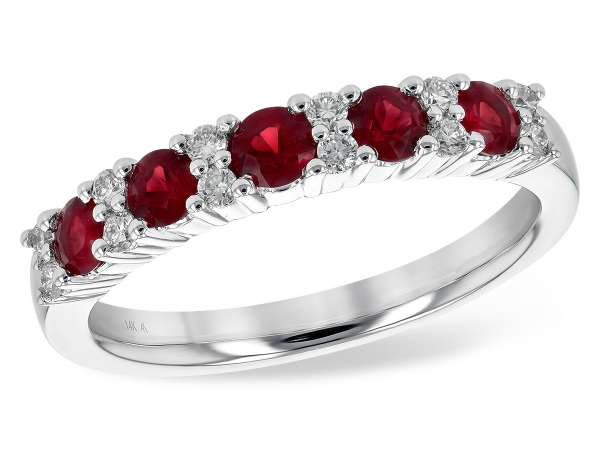 14KT Gold Ladies Wedding Ring - LDS WED RG .66 RUBY .83 TGW