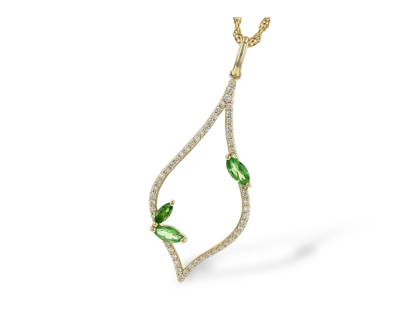 14KT Gold Necklace - NECK .35 GREEN GARNET .55 TGW
