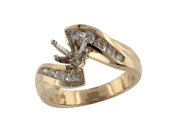 14KT Gold Semi-Mount Engagement Ring - SEMI MT RG  .46 TW - HOLDS 0.75 CTR