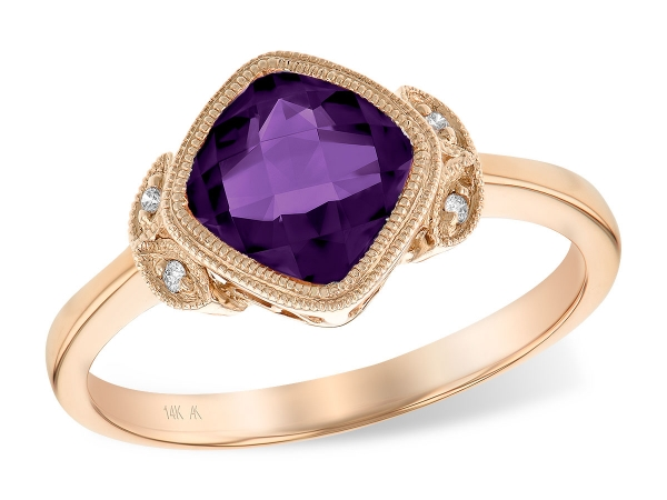 14KT Gold Ladies Diamond Ring - LDS RG 1.12 AMETHYST 1.14 TGW