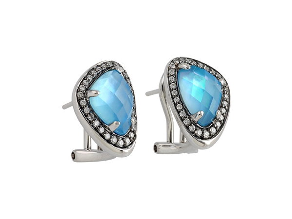 14KT Gold Earrings - EARR 3.38 BLUE TOPAZ 3.59 TGW
