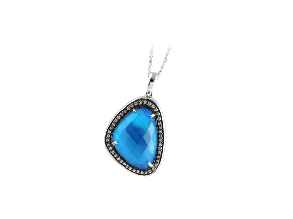 14KT Gold Necklace - NECK 11.99 BLUE TOPAZ 12.19 TGW