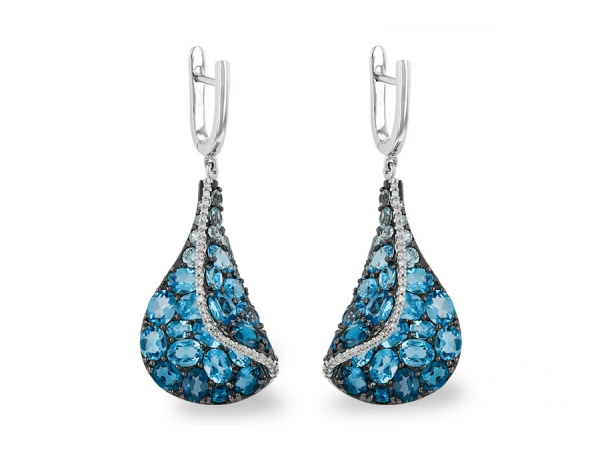 14KT Gold Earrings - EARR 6.86 BLUE TOPAZ 7.05 TGW