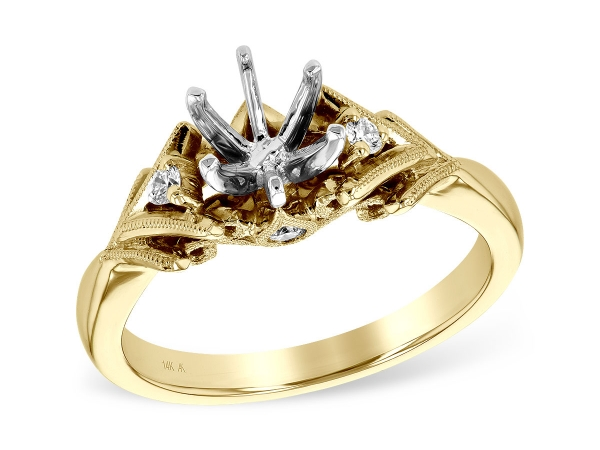 14KT Gold Semi-Mount Engagement Ring - LDS SEMI DIA RG .10 TW - HOLDS 0.75 CTR