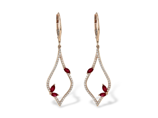 14KT Gold Earrings - EARR .60 RUBY .95 TGW