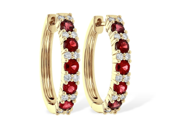 14KT Gold Earrings - EARR 1.76 RUBY 2.30 TGW
