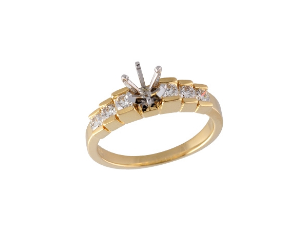 14KT Gold Semi-Mount Engagement Ring - LDS SEMI DIA RING .43 TW - HOLDS 0.50 CTR