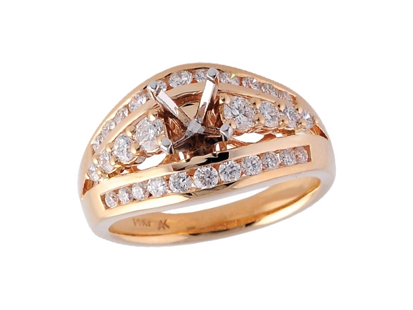 14KT Gold Semi-Mount Engagement Ring - LDS SEMI DIA RG .95 TW - HOLDS 1.00 CTR