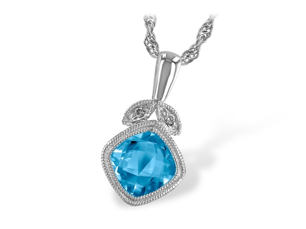 14KT Gold Necklace - NECK 1.05 BLUE TOPAZ 1.06 TGW