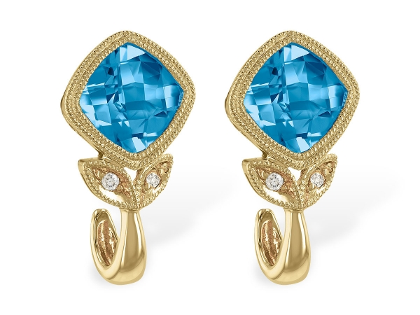 14KT Gold Earrings - EARR 2.12 BLUE TOPAZ 2.14 TGW
