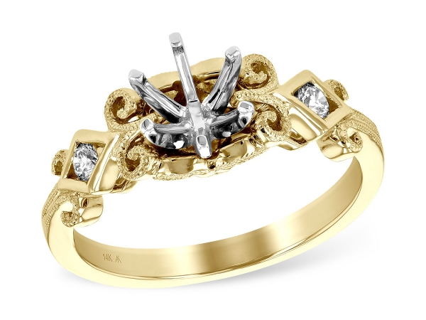 14KT Gold Semi-Mount Engagement Ring - LDS SEMI DIA RG .12 TW - HOLDS 0.75 CTR