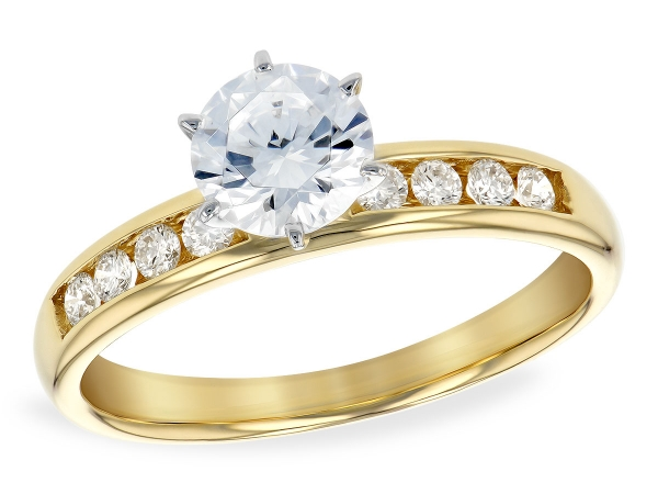 14KT Gold Semi-Mount Engagement Ring - LDS SEMI DIA RG .20 TW - HOLDS 0.60 CTR