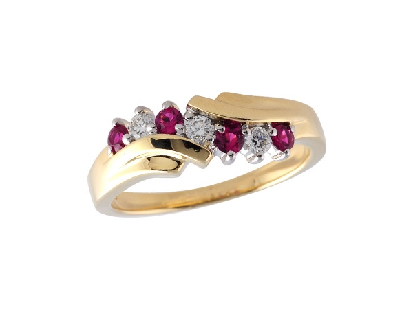 14KT Gold Ladies Wedding Ring - LDS WED RG .23 RUBY .38 TGW