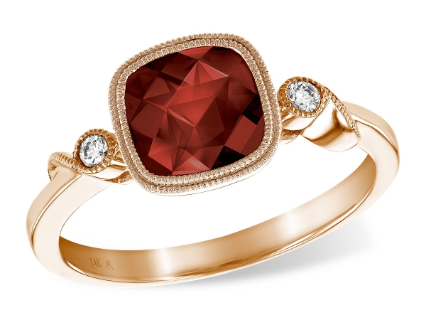 14KT Gold Ladies Diamond Ring - LDS RG 1.79 GARNET 1.84 TGW