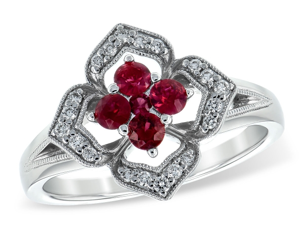 14KT Gold Ladies Diamond Ring - LDS RG .42 RUBY .54 TGW