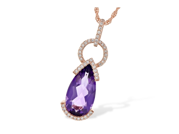 14KT Gold Necklace - NECK 2.44 AMETHYST 2.58 TGW