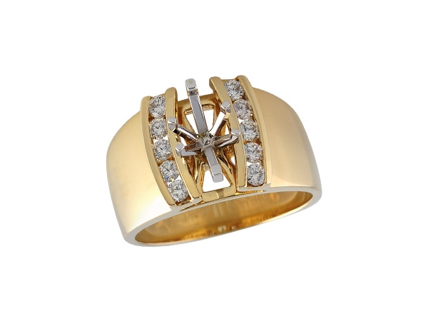 14KT Gold Semi-Mount Engagement Ring - SEMI MT RG .37 TW - HOLDS 0.75 CTR