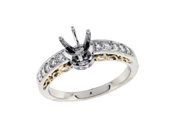14KT Gold Semi-Mount Engagement Ring - LDS SEMI DIA RG .36 TW - HOLDS 0.75 CTR