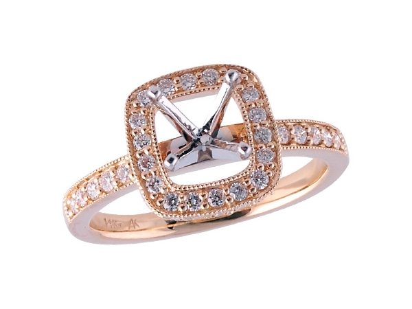 14KT Gold Semi-Mount Engagement Ring - LDS SEMI DIA RG .49 TW - HOLDS 1.00 CTR