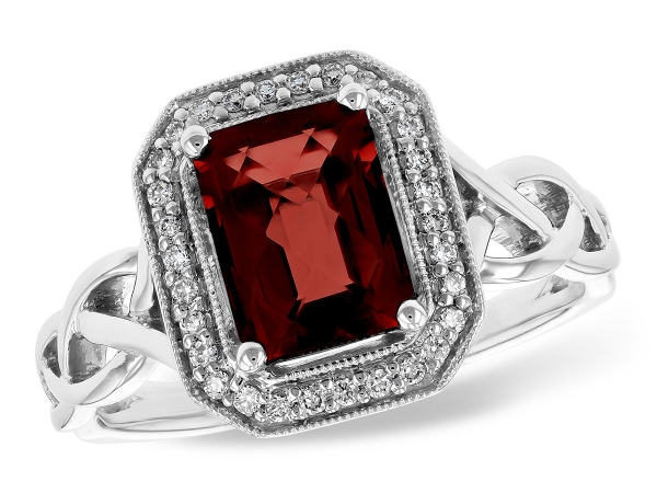 14KT Gold Ladies Diamond Ring - LDS RG 1.89 GARNET 2.00 TGW