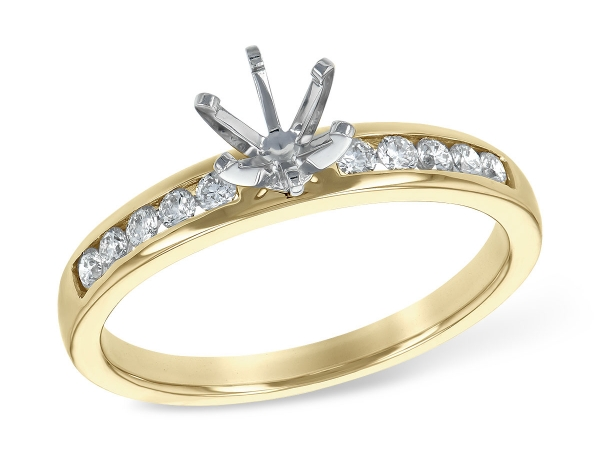 14KT Gold Semi-Mount Engagement Ring - LDS SEMI DIA RG .21 TW - HOLDS 0.50 CTR