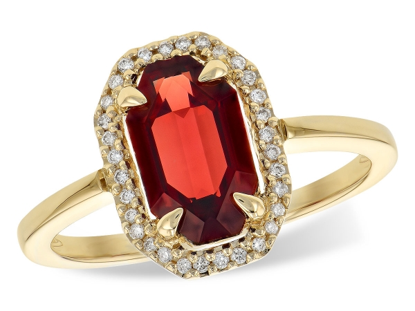 14KT Gold Ladies Diamond Ring - LDS RG 1.66 GARNET 1.75 TGW