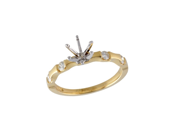 14KT Gold Semi-Mount Engagement Ring - LDS SEMI DIA RG .20 TW - HOLDS 0.75 CTR