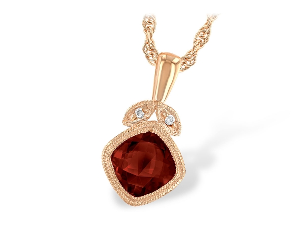 14KT Gold Necklace - NECK 1.09 GARNET 1.10 TGW