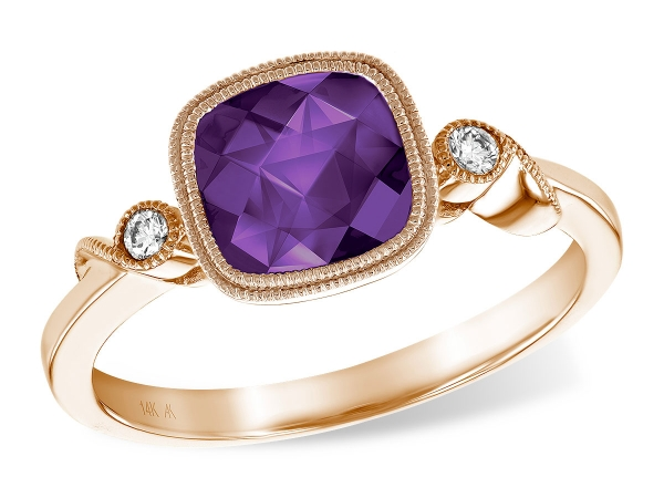 14KT Gold Ladies Diamond Ring - LDS RG 1.18 AMETHYST 1.23 TGW