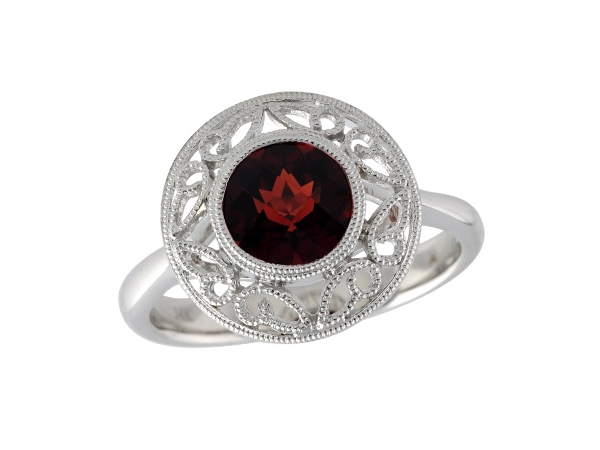 14KT Gold Ladies Diamond Ring - LDS RG 1.54 CT GARNET
