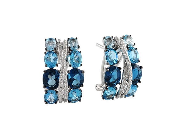 14KT Gold Earrings - EARR 6.22 BLUE TOPAZ 6.46 TGW