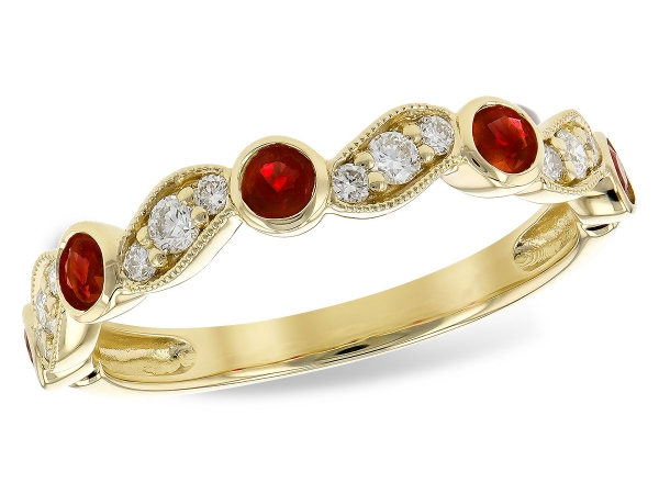14KT Gold Ladies Wedding Ring - LDS WED RG .40 RUBY .59 TGW