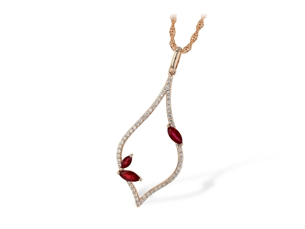 14KT Gold Necklace - NECK .36 RUBY .56 TGW