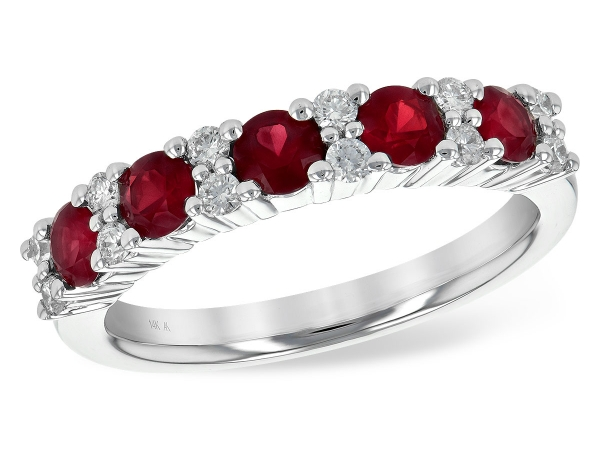 14KT Gold Ladies Wedding Ring - LDS WED RG .88 RUBY 1.12 TGW