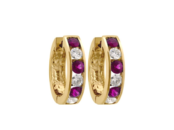 14KT Gold Earrings - EARRINGS 1.22 RUBY 2.06 TGW