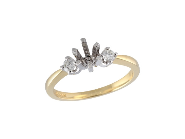 14KT Gold Semi-Mount Engagement Ring - LDS SEMI DIA RING .14 TW - HOLDS 0.40 CTR