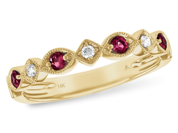 14KT Gold Ladies Wedding Ring - LDS WED RG .20 RUBY .26 TGW