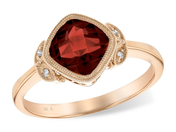 14KT Gold Ladies Diamond Ring - LDS RG 1.89 GARNET 1.91 TGW
